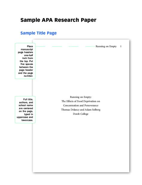 apa format paper template 2018 apa title page fillable printable pdf forms
