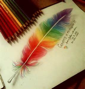 cool colorful drawings colorful feather by cielcode on deviantart