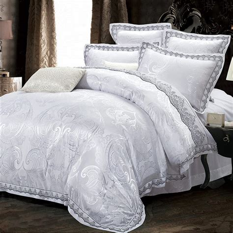 King Size White Duvet Cover Set White Jacquard Lace Bedding Sets King Size 4pcs