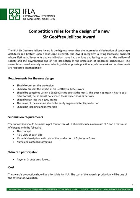 architectural design competition rules sir geoffreyjellicoe award landscape architecture