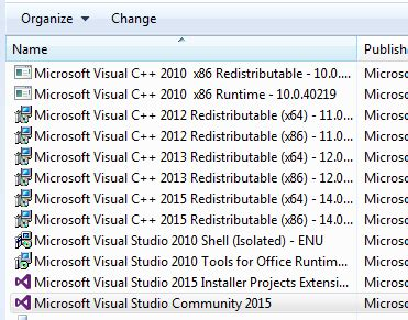 visual studio 2015 reset settings command line uninstall visual studio 2015 community setup failed