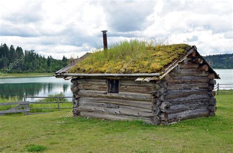cabin  sod roof stock photo  montana