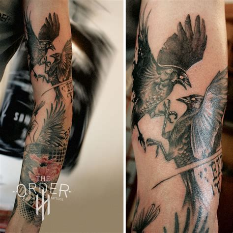 love endures crow cosmos trash polka sleeve full tattoo