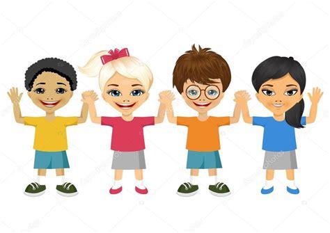 imagenes niños tomados de la mano ilustraci 243 n de ni 241 os cogidos de la mano vector de stock