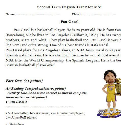 reading comprehension test beginner pau gasol