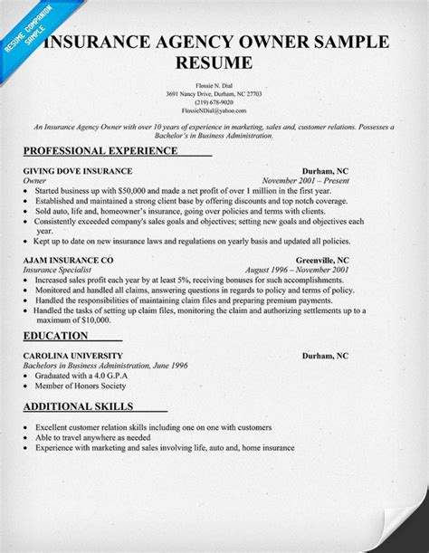 Insurance Agent Resume Examples by Insurance Agency Owner Resume Sample Resume Samples