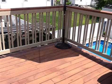 finished deck  railings offset rail benjamin moore semi