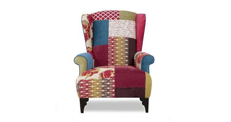 shout small high back wing chair shout patchwork dfs