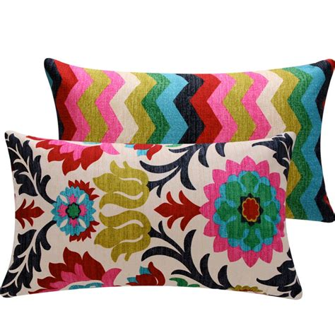 Colorful Decorative Pillows Colorful Floral Chevon Throw Pillow Cover Via Etsy