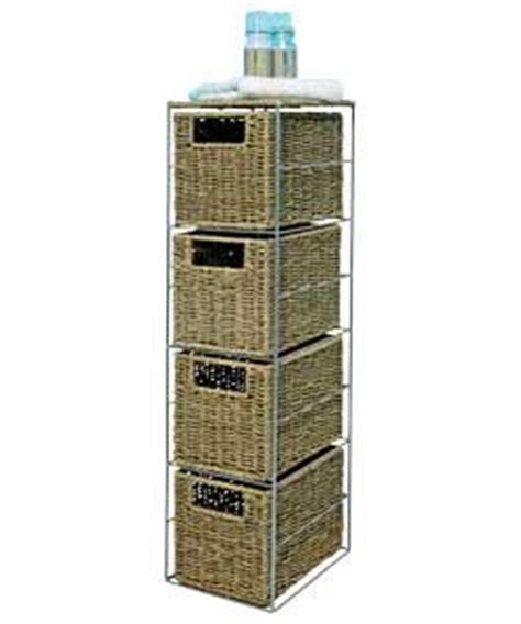 slimline 4 drawer seagrass storage tower