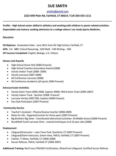 High School Resume For College Template by Best 25 High School Resume Ideas On High