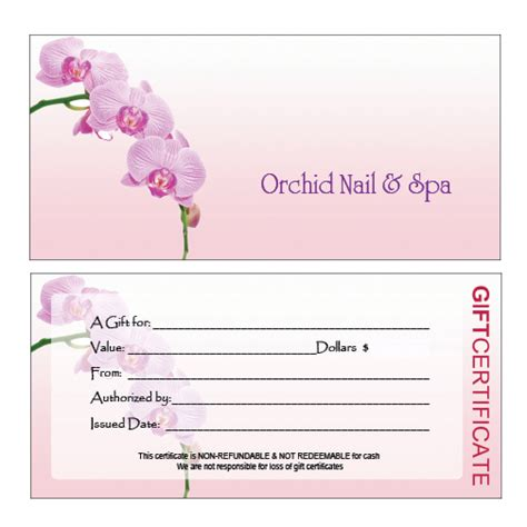 manicure gift certificate template nail salon gift certificate pictures to pin on
