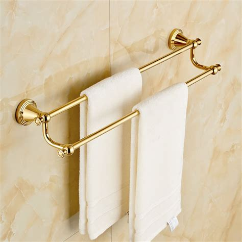 gold towel rack wall mount double towel rail gold finish bath towel bar rack ebay