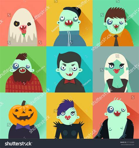imagenes hipster halloween happy hipster halloween set of avatars flat long shadow
