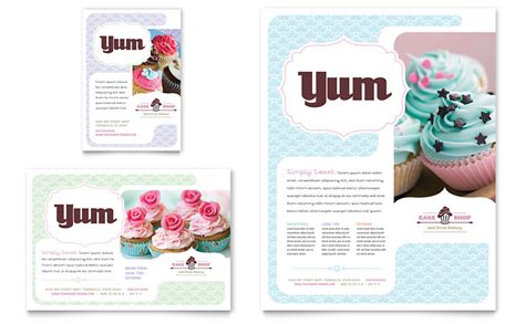 ad templates free bakery cupcake shop flyer ad template word publisher