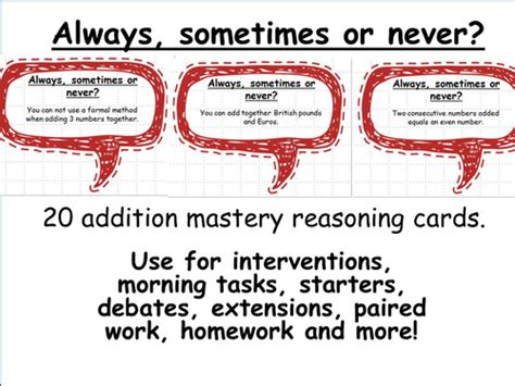 Always Or Never 20 addition mastery maths reasoning cards always sometimes