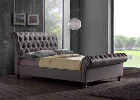 Grey King Size Bed With Mattress Details About Chesterfield Sleigh Grey Fabric 5ft