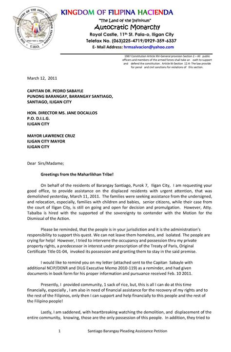 application letter for barangay kingdom hacienda