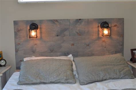 rustic headboard with built in lighting