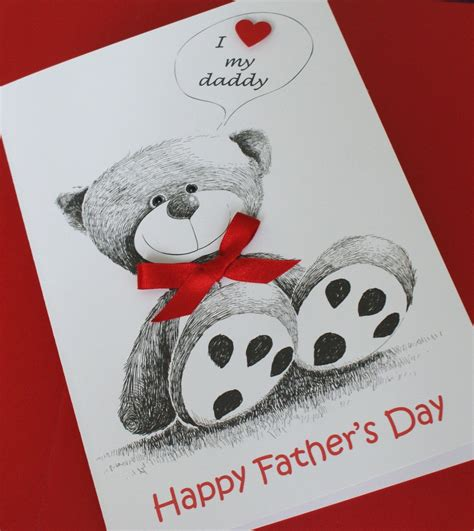 Handmade Teddy Cards - handmade personalised fathers day card happy fathers day