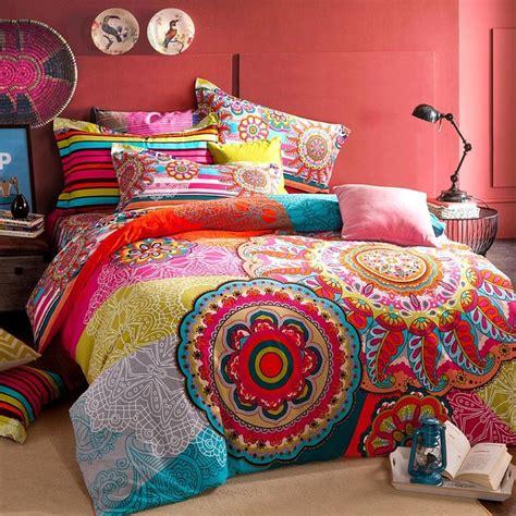 Boho Bedding Set by Bleu Et Jaune Colorful Bohemian Tribal Cercle Motif