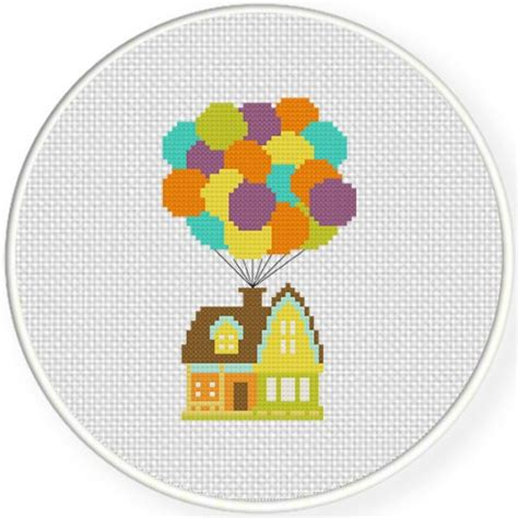 house pattern cross stitch balloon house cross stitch pattern daily cross stitch