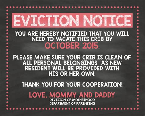printable baby eviction notice pregnancy reveal sign eviction notice pregnancy sign