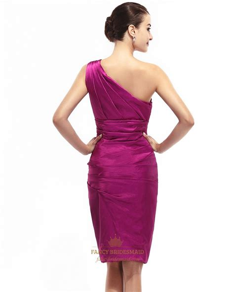 Dress Ghifa Pink 1 pink one shoulder knee length sheath ruched satin cocktail dress fancy bridesmaid dresses