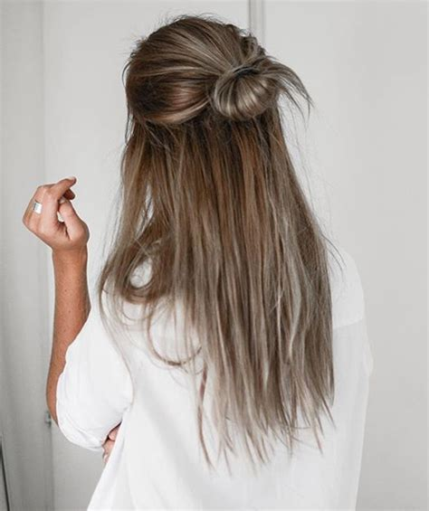 hairstyles for straight hair half up half updo bun long straight hairstyles for prom styles time