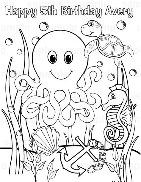 custom happy birthday coloring pages personalized printable under the sea birthday 18613