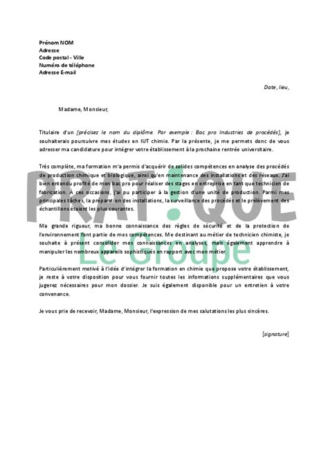 Exemple De Lettre De Motivation Pour Université Lettre De Motivation Pour Int 233 Grer Un Iut De Chimie Pratique Fr