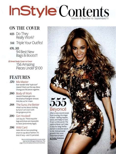 Beyonce On The Cover Of Instyle Magazine by In Style Contents Page