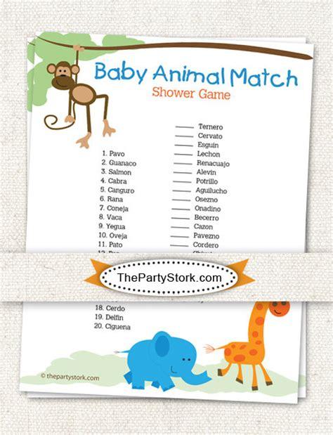 printable baby shower games in spanish spanish baby shower game baby animal match safari theme