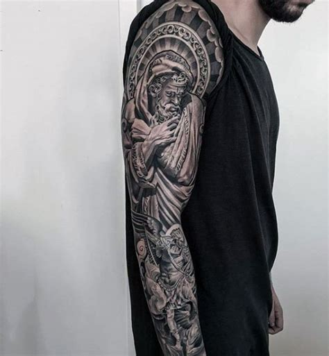 religious themed sleeve fantastic religious themed black and white sleeve of angelic