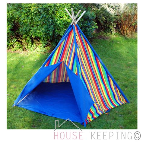 Backyard Teepee Tent by Stripe Childrens Garden Wigwam Kid Teepee Play Tent Indoor