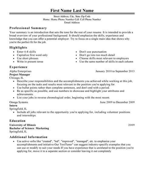 Career Resume Template by Free Professional Resume Templates Livecareer