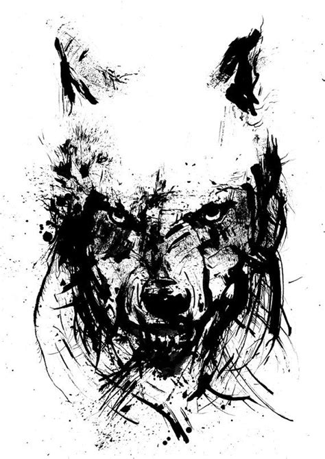 tattoo ink art angry wolf black and white art ink drawing by