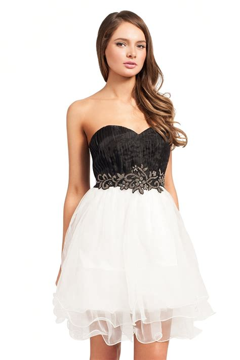 White And Black Dress black and white embellished chiffon