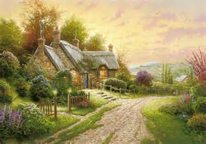 kinkade summer cottage house flower road