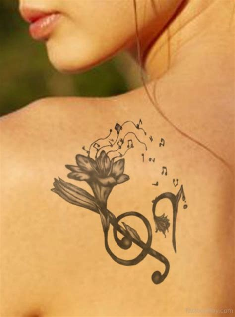 music and flower tattoo designs feminine tattoos designs pictures