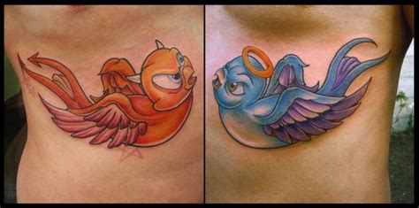 side angel devil sparrow tattoo by white rabbit tattoo