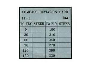 compass deviation card template transair flight equipment