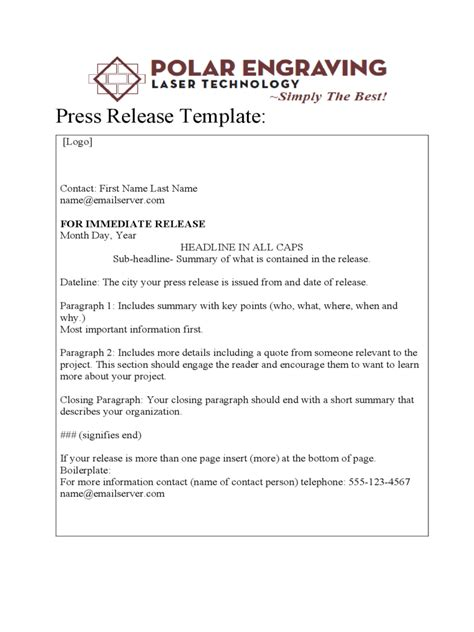 Press Release Letter Exle Press Release Template 12 Free Templates In Pdf Word Excel