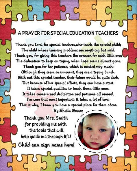 thank you letter to special ed personalized autism special needs therapist