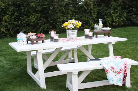 white bench table ana white providence table diy projects