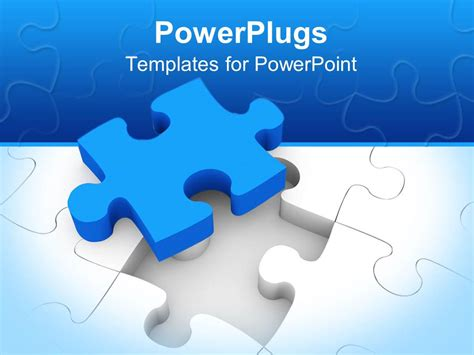 powerpoint template blue puzzle piece on top of white