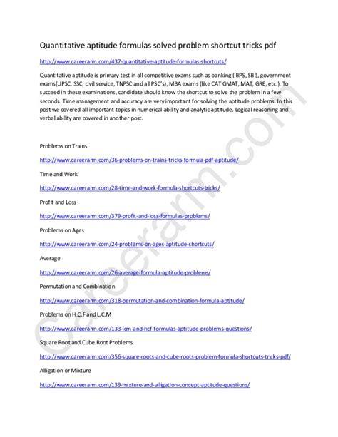 Quantitative Skills Classes Mba by Quantitative Aptitude Formulas Shortcut Tricks