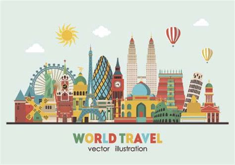 how to travel the world on 10 a day books world travel design elements vector illustration 08