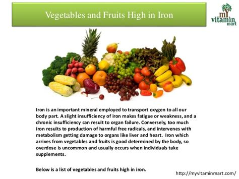 fruit high in iron vegetables and fruits high in iron