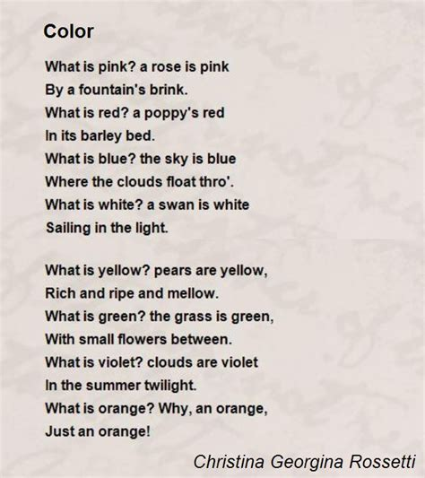 poems about colors color poem by georgina rossetti poem
